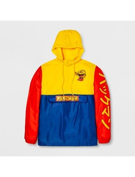 Men's Long Sleeve Pac Man Hooded Pullover Anorak Jacket   Navy/Yellow/Red by Pac Man