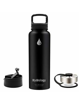 Hydrology   32 Oz, 40 Oz With 3 Lids Or 64 Oz With 2 Lids Double Wall Vacuum Insulated Stainless Steel Hydro Sports Water Bottle Flask   Keeps Cold And Hot by Hydrology Llc