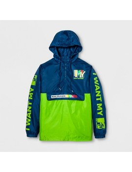 Men's Long Sleeve Mtv Hooded Pullover Anorak Jacket   Navy/Neon Green by Mtv
