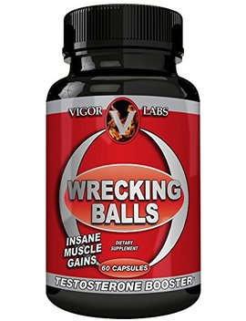 Vigor Labs Wrecking Balls Award Winning Best Testosterone Booster For Men | 100 Percents Natural Herbal Supplements For Male Enhancement, Muscle Building, Metabolism, Energy & Vitality | 60 Capsules by Vigor Labs