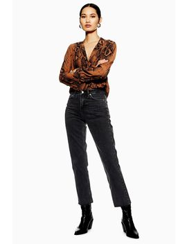 Tall Washed Black Raw Hem Straight Jeans by Topshop
