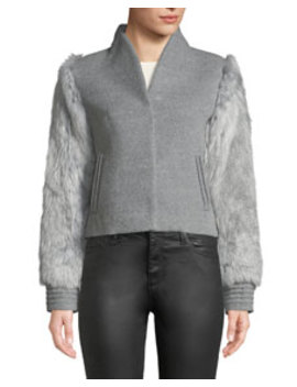 Baby Alpaca Wool Bomber Jacket W/ Fur Sleeves by Sentaler