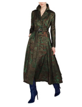 Metallic Jacquard Belted Trench Style Coat by Akris