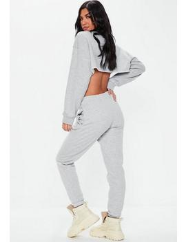 Petite Grey Marl Basic Joggers by Missguided