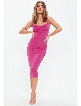 Pink Slinky Cowl Midi Dress by Missguided