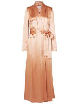 Belted Silk Satin Coat by Galvan  London