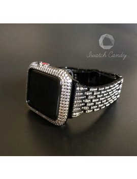 Series 4 Apple Watch Band 40mm 44mm Series 1,2,3,4 Black Womens Mens Rhinestone Crystal/Bezel Case Cover Lab Diamonds Bling by Etsy