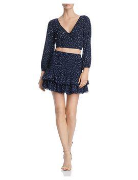 Polka Dot Cropped Top   100 Percents Exclusive & Smocked Mini Skirt by Bb Dakota