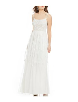 Floral Beaded Spaghetti Strap Tulle A Line Gown by Adrianna Papell