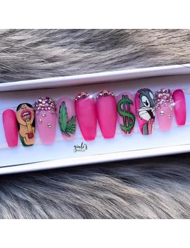 """Pink Nails   """"Million Dollar Babe"""" Set 