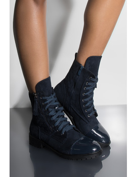 Take Me On A Journey Casual Lace Up Flat Bootie by Akira