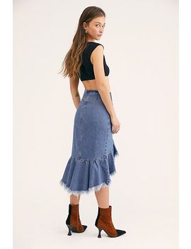 Raw Denim Midi Skirt by Free People