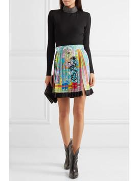 Pleated Printed Silk Twill Mini Skirt by Versace