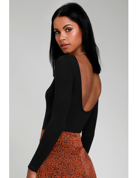 Graciously Yours Black Long Sleeve Scoop Back Bodysuit by Lulus