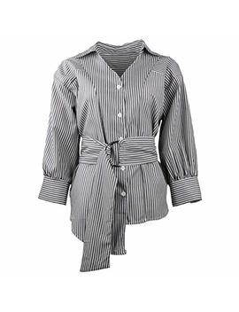 Fengnv Womens Long Sleeve Striped V Neck Button Down Shirts Casual Irregular Hem Blouses by Fengnv