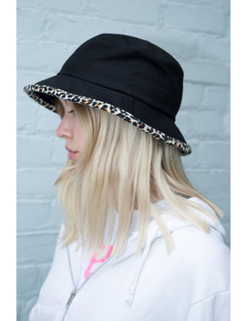 Black And Leopard Print Bucket Hat by Brandy Melville