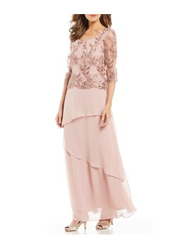 Mock 2 Piece Embroidered Bodice Chiffon Gown by Le Bos
