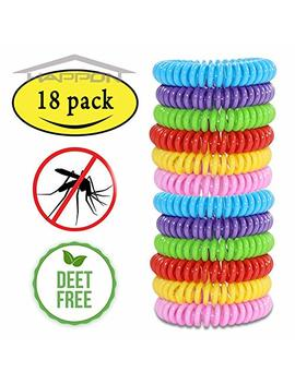Mosquito Repellent Bracelets,Natural For Kids & Adults(18 Pack)Waterproof Elastic Coil Pest Control Bug Repellent Wristbands Up To 300 Hrs Protection,Deet Free And Bugs Free by Happon