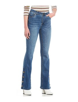 button-hem-flare-jeans by gb