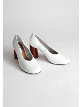 Leather Wooden Heel Pumps by & Other Stories