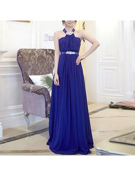 Luxury Style   Halter Sleeveless Rhinestone A Line Evening Gown by Luxury Style