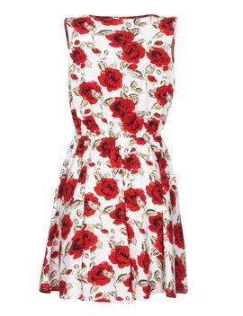 Rose Print Sleeveless Dress by Mela London
