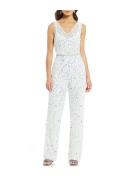 V Neck Beaded Jumpsuit by Adrianna Papell