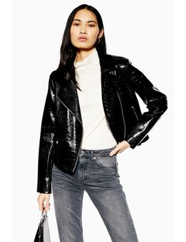 Crocodile Pu Jacket by Topshop