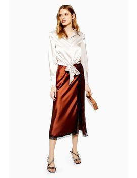 Lace Trim Bias Midi Skirt by Topshop