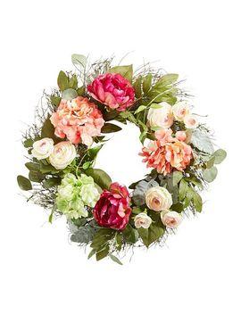 "Pink Faux Peony, Hydrangea & Ranunculus 24"" Wreath by Pier1 Imports"