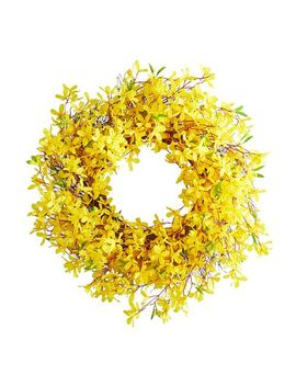 "Yellow Faux Forsythia 26"" Wreath by Pier1 Imports"