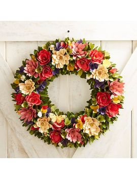 "Flower & Butterfly Wood Curl 19"" Wreath by Pier1 Imports"