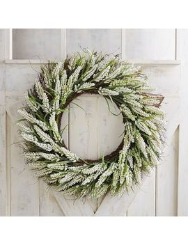 "Faux White Heather Oversized 28"" Wreath by Pier1 Imports"