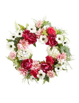 "Pink & White Faux Peonies & Roses 26"" Wreath by Pier1 Imports"