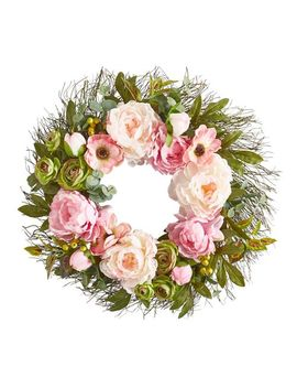 """Pink Faux Peony Anemone & Ranunculus 22"""" Wreath by Pier1 Imports"""