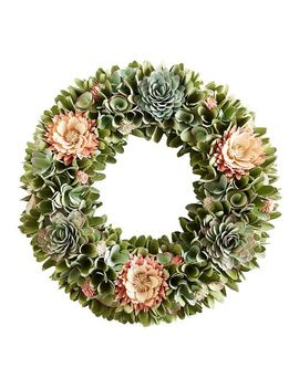 "19"" Wood Curl Succulent & Pink Flower Wreath by Pier1 Imports"