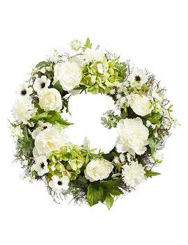 "White Faux Peony, Anemone & Dahlia 22"" Wreath by Pier1 Imports"