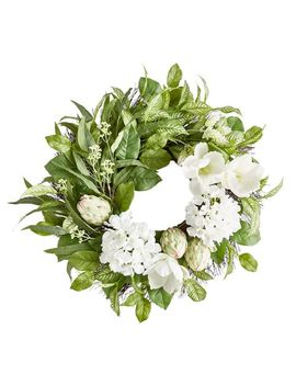 "Green & White Faux Protea & Magnolia 22"" Wreath by Pier1 Imports"