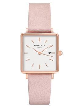 The Boxy Leather Strap Watch, 26mm X 28mm by Rosefield