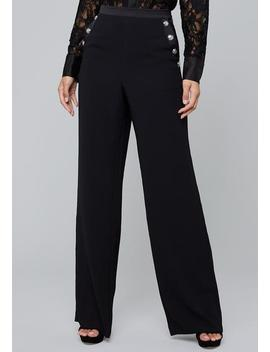 Button Detail Crepe Pants by Bebe