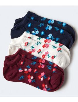 3 Pack Floral Ankle Socks by Aeropostale