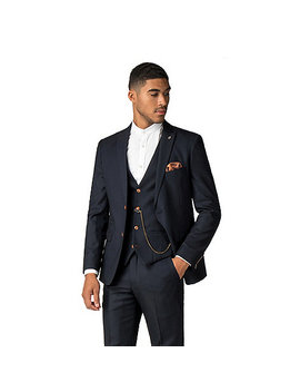 Max Navy Diamond Textured Suit by Marc Darcy