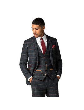 Eton Navy Tweed Style Check Suit by Marc Darcy