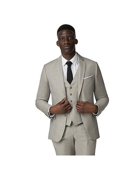 Oatmeal Linen Tailored Suit by Racing Green