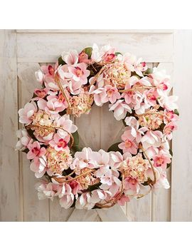 "Luxe Pink Faux Magnolia Oversized 32"" Wreath by Pier1 Imports"