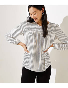 Striped Smocked Mixed Media Blouse by Loft