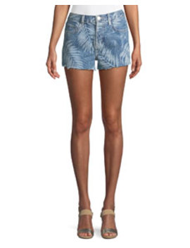 The Ultra High Waist Palm Print Cutoff Shorts by Current/Elliott