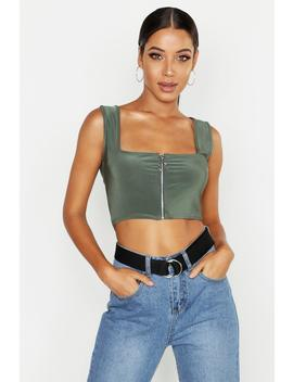 Slinky Zip Square Neck Crop by Boohoo