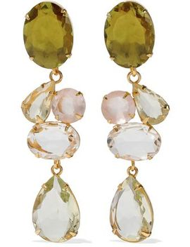 Convertible Gold Tone Crystal Earrings by Bounkit