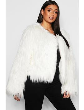 Plus Shaggy Faux Fur Jacket by Boohoo
